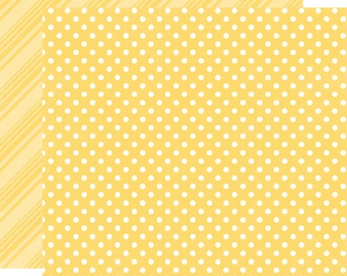 2 Sheets of Echo Park Paper DOTS & STRIPES Spring 12x12 Scrapbook Paper - Canary (DS15001)