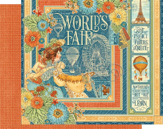 2 Sheets of WORLD'S FAIR Scrapbook Paper by Graphic 45 - World's Fair