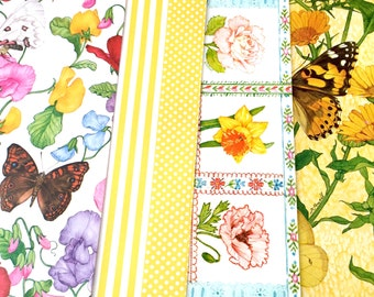 4 Sheets Floral Wrapping Paper Lot, Linda Powell Butterflies Paper, Flowers, James M Needham Butterfly Current Gift Wrap, Scrapbook Paper