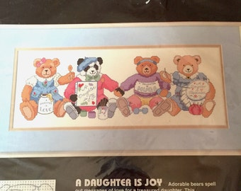 Dimensions A Daughter Is Joy Bears No Count Cross Stitch Kit, Embroidery, Needlepoint Pattern, Teddy Bears, Hallmark Designs