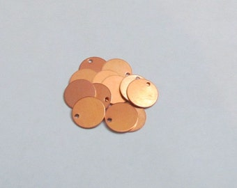Copper Blanks w hole - 9.5mm - Hand stamping supplies//tiny copper blanks//small copper blanks//initial blanks//bracelet tags//blanks  hole