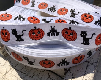 "3 yards 7/8"" HALLOWEEN Bat CAT Pumpkin Grosgrain Ribbon"