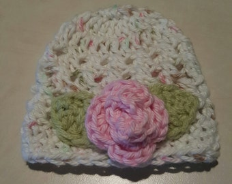 Preemie Baby Girl Jaelynn  Hat Gorgeous Pink with Stunning Rose great for photo op