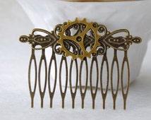 Steampunk Gear Hair Comb * Victorian Gear Hair Accessories * Antiqued brass Vintage Clock Hair * Cyberpunk Hair Clip * Steampunk Cosplay