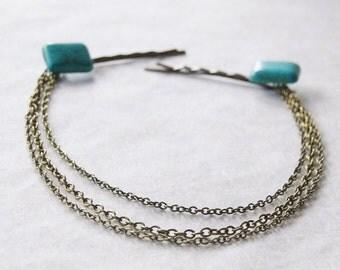Turquoise Head Chain / Boho Wedding Hair Chain / Boho Hair Clips / 2 Natural Turquoise Stone Hair Pins with Removable chains / Bridal Hair