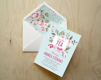 Vintage Rose Tea Party Invitations