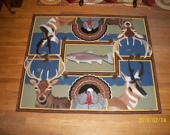 Hunting rug, Hunting floorcloth, log cabin rug