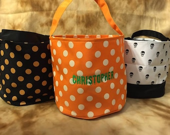 Personalized Monogrammed Embroidered Halloween Trick or Treat Bucket Bag 7 Options Polka Dots, Chevron, Skulls