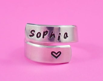 Personalized Name Ring - Hand Stamped Spiral Ring, Custom Ring, Mother Ring, Daughter Ring, Girlfriend Gift