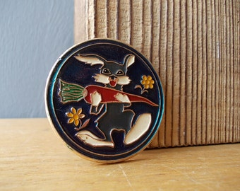 Vintage Pin HARE / BUNNY / Soviet Badge / Vintage Brooch / Made in USSR / Rabbit / Hat Pin / Cartoon / Small Gift / Carrot