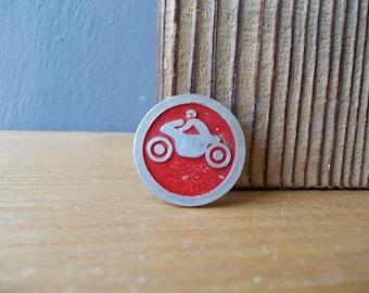Vintage PIN / Motorcycle Rider / Soviet BADGE with Byke / Vintage Brooch / USSR 80's