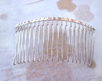 SALE--10 Pcs 36mmx75mm (20teeth) plated Silver Hair Combs