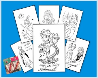 FROZEN Personalized Coloring Book - emailed as a pdf file - Anna Elsa & Olaf