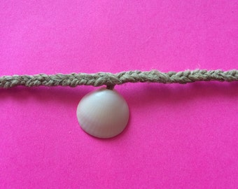 Woven Fish-Tail Hemp Anklet with Juno Beach Shell
