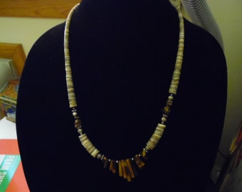 South-Western Tiger Eye Necklace Beaded Sterling Necklace.