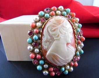 Unique Large Cameo Pendant or Brooch