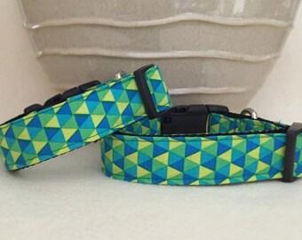 Dog Collar - Bright Geometric Design / Blue Green yellow