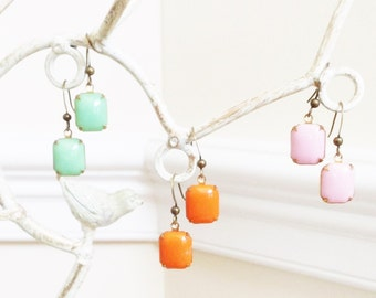 Pink Earrings, Glass Stone Bead Earrings, Green  Earrings, Orange Bead Earrings, Spring Earrings, Bead Earrings, Jessie Kate Designs