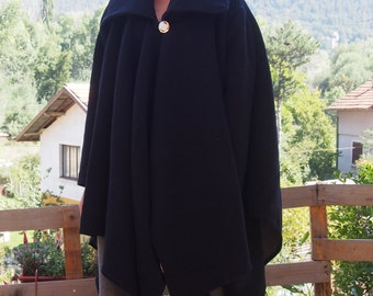 Wool Coat Аsymmetric Coat  Plus Size Long Wool Cardigan Wool Poncho & Nara PV004