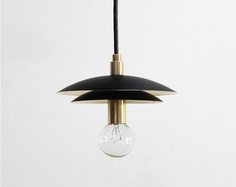 "Modern Pendant Light - Mid Century Pendant Light - Brass Pendant Light - ""DUO"""