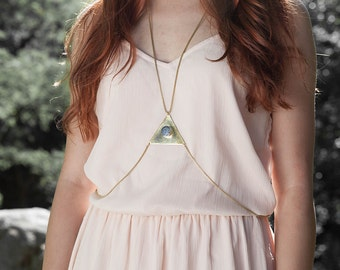 Brass triangle piece body chain with kyanite inlay. Body necklace. Harness chain. Small to Medium Size.