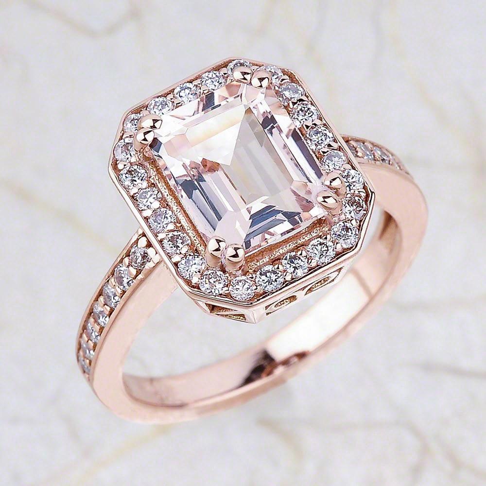 Morganite Engagement Ring Rose Gold Engagement Ring