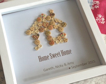 Home Sweet Home Button Picture - Housewarming / New Home / First Home / Gift / Personalised / Home Decor / Wall Hanging Gift