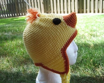 Chick Crocheted Hat For Adults. Yellow Crocheted Baby Duck Hat. Chicki Croheted Hat.