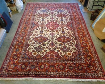 """Hand Knotted Persian Isfahan Rug w. Intricate Leaf Designs 8'8"""" x 12'7"""" VINTAGE"""
