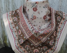 Vintage ivory khaki green red medieval ornaments print St. Michael square polyester scarf.