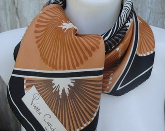 Vintage retro print silk twill Pierre Cardin square silk scarf from 70's