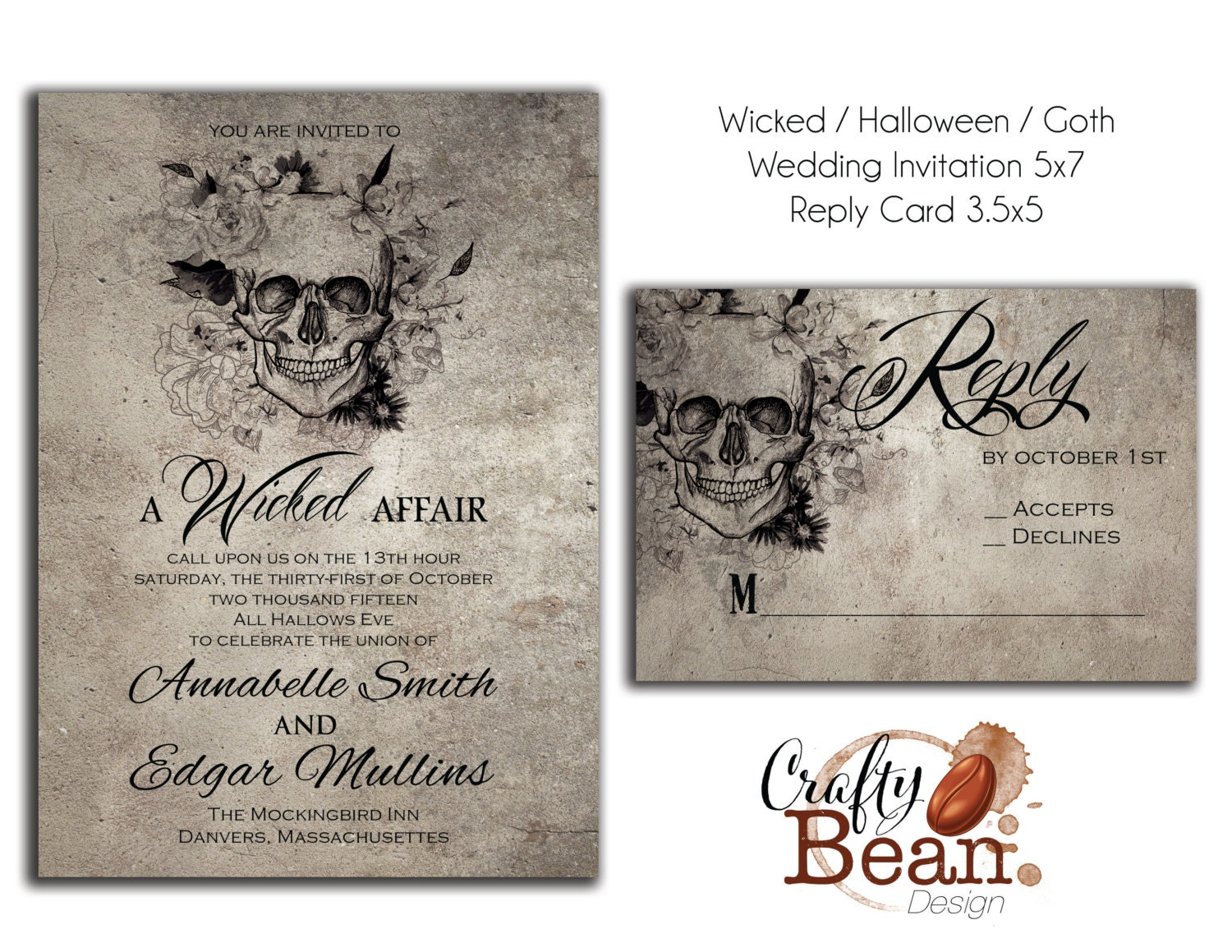 Halloween Wedding Invitation: Wicked / Halloween / Horror / Gothic Wedding Invitation DIY