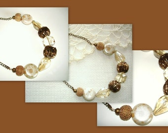 Gold and Glass Beaded Chain Necklace