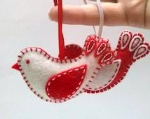 Felt Christmas ornaments, Felt bird ornament, red white bird ornament, Christmas decoration, Valentines day decoration, Christmas in July