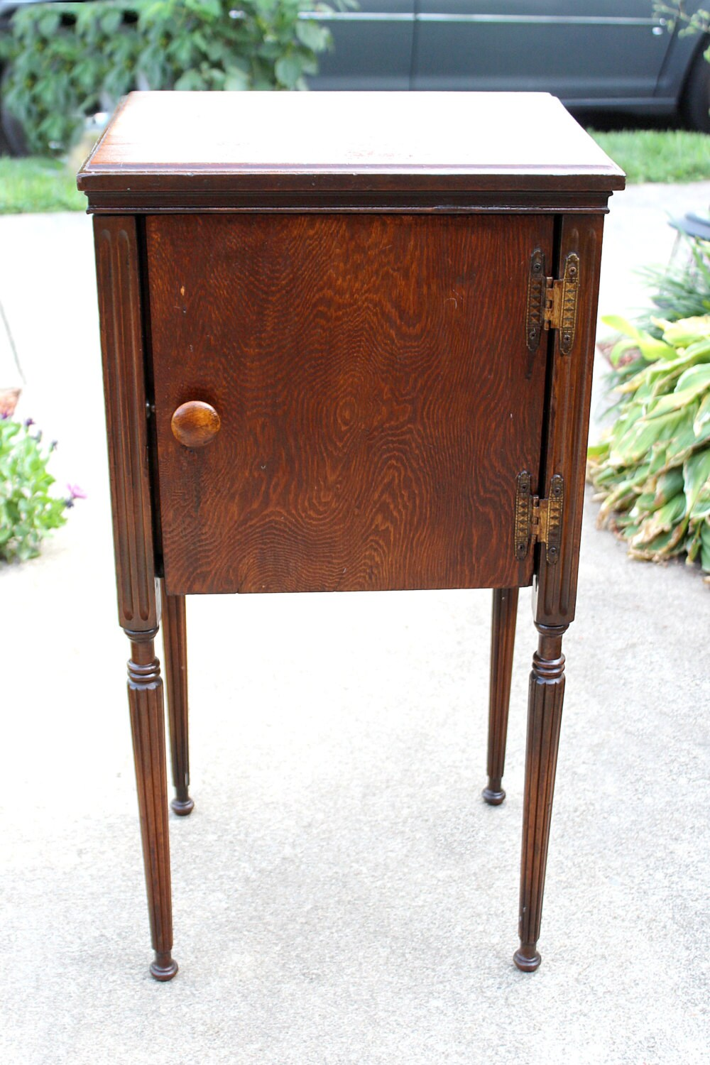 Antique Solid Wood Table Cabinet Storage Under Table Top