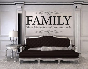 Vinyl Wall Quotes Family Where Life Begins And Love Never Ends Vinyl Wall  Decal, Custom