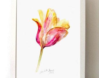 Tulip Watercolor Painting - Giclee Print - pink Yellow Flower Watercolour - Zen Art tulip illustration - Tulip Art - Home decor - Wall Art