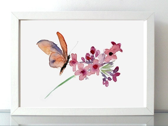 Wall Art Glass Butterflies : Butterfly and flower watercolor painting nature art wall