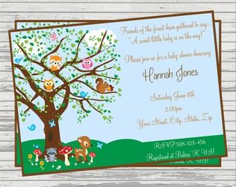 Woodland Forest Friends Baby Shower DIGITAL Invitation.