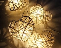 Rattan Cane Wooden Hearts 110-240V Mains Powered Fairy Lights White