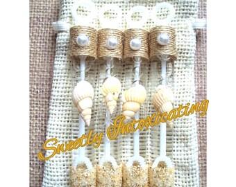25CT Burlap, seashell beach wedding bubbles made will real sand. Beach wedding, destination wedding