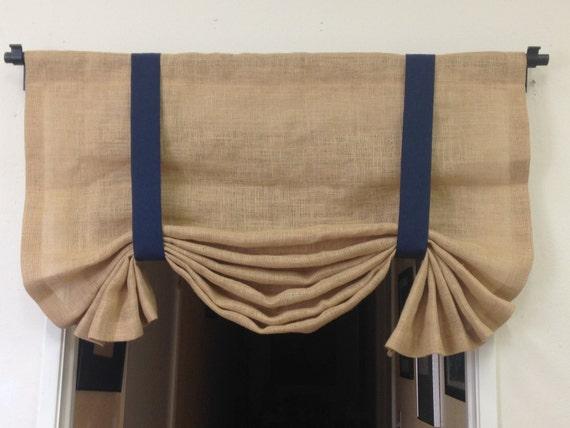 burlap tie up valance nautical curtains burlap curtains. Black Bedroom Furniture Sets. Home Design Ideas