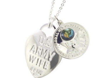 Rhodium Plated Army Wife Armed Forces Family  Necklace (Free Shipping)