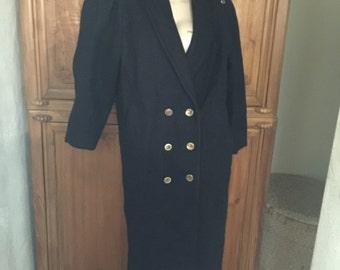 80s Nautical Navy Blue Fairweather Wool Vixen Boho Double Breasted Coat