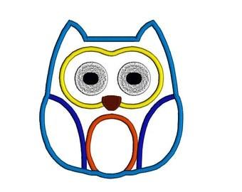 Owl applique design. Owl machine embroidery design in four sizes.
