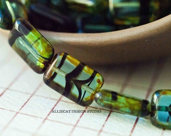 6 Teal Tortoise Picasso 8x12mm Polished Rectangle Czech Glass Beads (S709)
