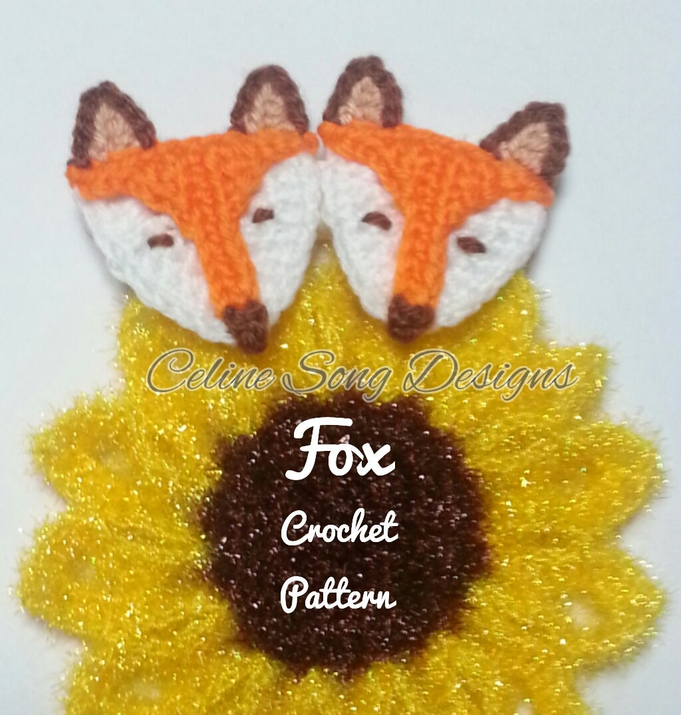 Fox crochet easy pdf pattern for applique or decoration for Applique decoration