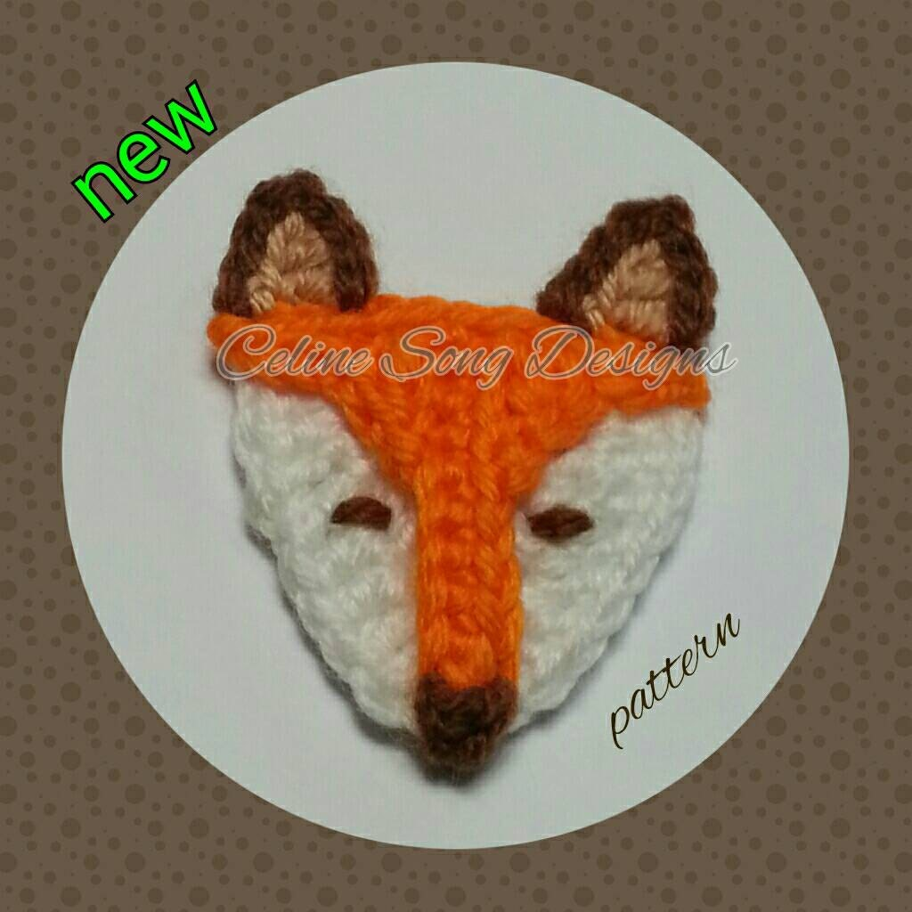 Fox crochet easy pdf pattern for applique or decoration for Applique decoration
