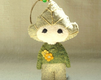 Felt Birch Doll Ornament, Embroidered Wool Felt Art Doll, Nature Inspired Handmade Ornament *Ready to Ship