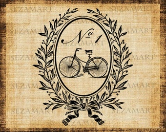 Victorian frame with bicycle number 1 fancy script burlap fabric Digital Image Download Transfer File 8,5x11 in JPG and PNG Buy 2 get 1 Free